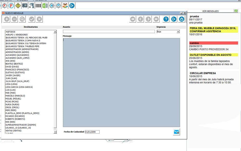 mensajería interna en Multiplo ERP
