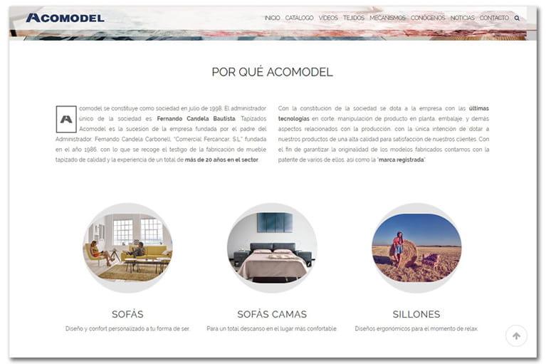 web corporativa Acomodel